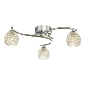 Nakita 3 Light G9 Flush Polished Chrome Fitting With Dimpled Glass Shades