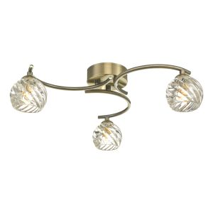 Nakita 3 G9 Light Flush Antique Brass Fitting With Twisted Open Glass Shades