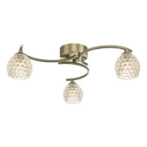 Nakita 3 Light G9 Flush Antique Brass Fitting With Dimpled Glass Shades