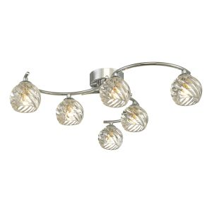 Nakita 6 Light G9 Flush Polished Chrome Fitting With Twisted Open Glass Shades