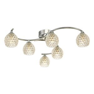 Nakita 6 Light G9 Flush Polished Chrome Fitting With Dimpled Glass Shades