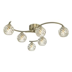 Nakita 6 Light G9 Flush Antique Brass Fitting With Twisted Open Glass Shades