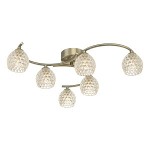 Nakita 6 Light G9 Flush Antique Brass Fitting With Dimpled Glass Shades