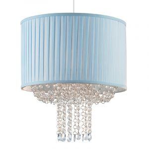 Endon NE-ABBEY-BLU Non Electric Pleated Shade In Light Blue With Bead Swags 1 Light In Fabric