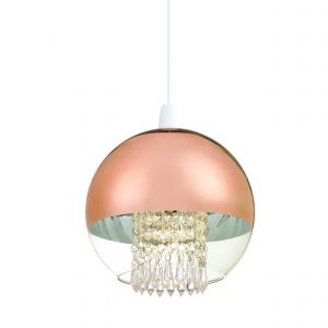 Boston Single LED Non Electric Shade Clear/Copper Glass/Clear Glass Finish