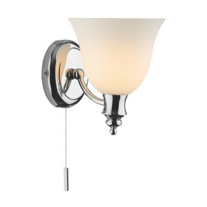 DAR OBO0750 Oboe Single Wall Light Bathroom Polished Chrome/Frosted Glass Finish Switched