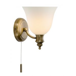 DAR OBO0775 Oboe Single Wall Light Bathroom Antique Brass/Frosted Glass Finish Switched