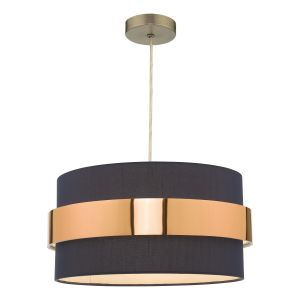 Oki E27 Non Electric Shade In Navy Blue Cotton With Copper Band Finish (Shade Only)