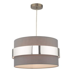 Oki E27 Non Electric Shade In Grey Cotton With Polished Chrome Band Finish (Shade Only)