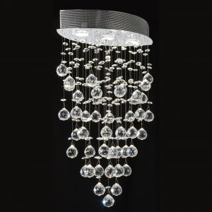 Endon OPERA-3CH 3 Light Ceiling Fitting In Chrome With Glass Beads 3 Light In Chrome