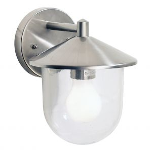 DAR POO1544 Poole Single Outdoor Wall Light  Satin Silver/Clear Glass Finish