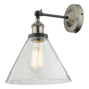 Ray Single Wall Light Antique Nickel Clear Glass