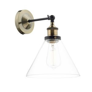 DAR RAY0775 Ray Single Wall Light Antique Brass/Clear Glass Finish