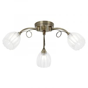 Endon SCHELL-3AB 3 Light Ceiling Fitting In Antique Brass With Glass Shades 3 Light In Brass