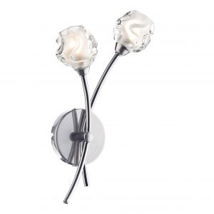 DAR SEA0946 Seattle Double Wall Light Satin Chrome/Clear Glass Finish Switched
