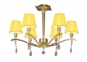 Mantra M0344PB Siena Semi Ceiling Round 6 Light E14, Polished Brass With Amber Cream Shades And Clear Crystal