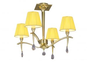 Mantra M0345PB Siena Semi Ceiling Round 4 Light E14, Polished Brass With Amber Cream Shades And Clear Crystal