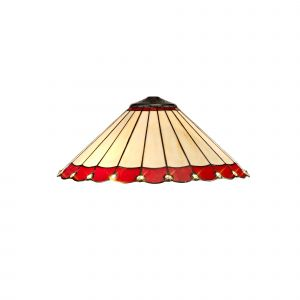 Nu Derham Tiffany 40cm Shade Only Suitable For Pendant/Ceiling/Table Lamp, Red/CCrain/Crystal