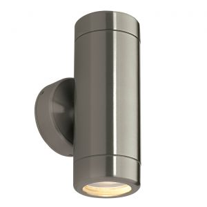 Saxby ST5008S Odyssey Double IP65 Outdoor Wall Light Brushed Stainless Finish