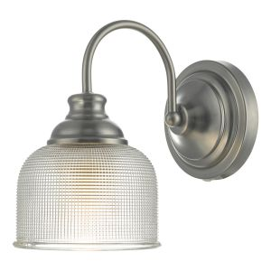 DAR TAC0761 Tack Single Wall Light Antique Chrome/Clear Glass Finish Switched