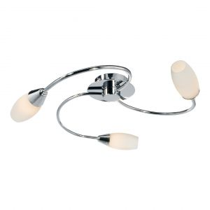 Thursk 3 Light G9 Flush Fitting In Polished Chrome Finish With Opal Glass Shades