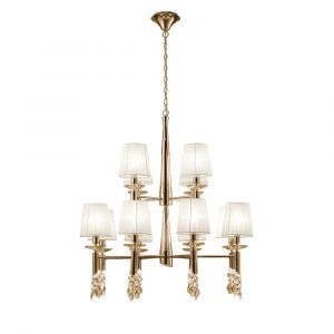 Mantra M3850FG Tiffany Pendant 2 Tier 12+12 Light E14+G9, French Gold With White Shades & Clear Crystal
