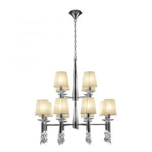 Mantra M3850 Tiffany Pendant 2 Tier 12+12 Light E14+G9, Polished Chrome With Cream Shades & Clear Crystal