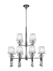 Mantra M3850 Tiffany Pendant 2 Tier 12+12 Light E14+G9, Polished Chrome With White Shades & Clear Crystal