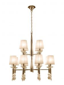 Mantra M3850FG Tiffany Pendant 2 Tier 12+12 Light E14+G9, French Gold With Cream Shades & Clear Crystal