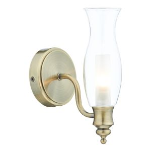 DAR VES0775 Vestry Single Bathroom Wall Light Antique Brass/Clear Glass Finish Switched