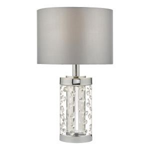 Yakinsale 1 Light E27 Small Single Table Lamp In Polished Chrome With Crystal Beads Complete With Grey Faux Silk Shade