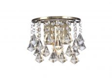 Acton Wall Lamp 1 Light E14 Switched Antique Brass/Prism Crystal
