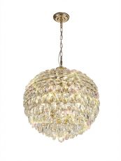 Diyas IL32805 Coniston Pendant, 9 Light E14, French Gold/Crystal