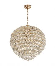 Diyas IL32810 Coniston Pendant, 12 Light E14, French Gold/Crystal