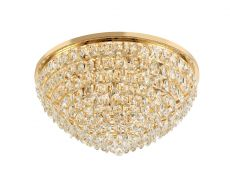 Diyas IL32818 Coniston Flush Ceiling, 12 Light E14, French Gold/Crystal