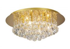 Deco D0005 Dahlia Flush Ceiling, 450mm Round, 6 Light G9 Crystal French Gold