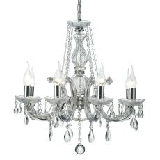 Deco D0022 Gabrielle Chandelier With Acrylic Sconce & Glass Crystal Droplets 8 Light E14 Polished Chrome Finish