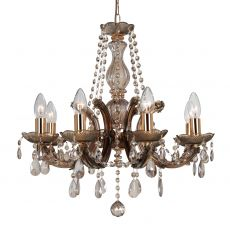 Deco D0023 Gabrielle Chandelier With Acrylic Sconce & Glass Droplets 8 Light E14 Mink Finish