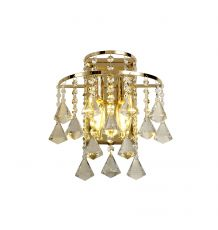 Diyas IL32774 Inina Wall Lamp Switched 2 Light E14 French Gold/Crystal